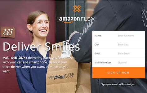 Screenshot Amazon Flex: Frau nimmt Paket entgegen