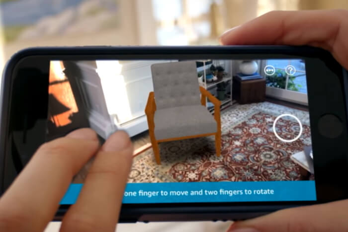 Amazon: Screenshot Video zur AR-App-Funktion