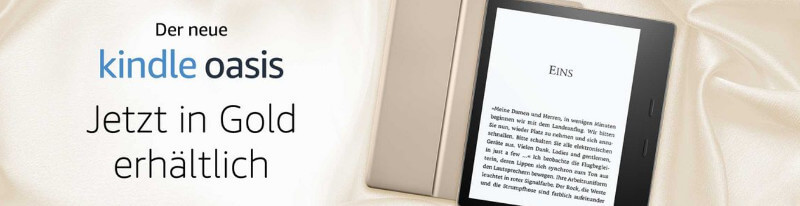 Amazon-Banner für den neuen Kindle Oasis in Gold