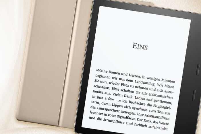 Screenshot: Abbildung des neuen Kindle Oasis in Gold