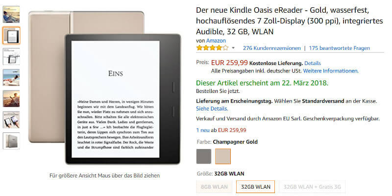 Amazon: Produktseite des neuen Kindle Oasis in Gold