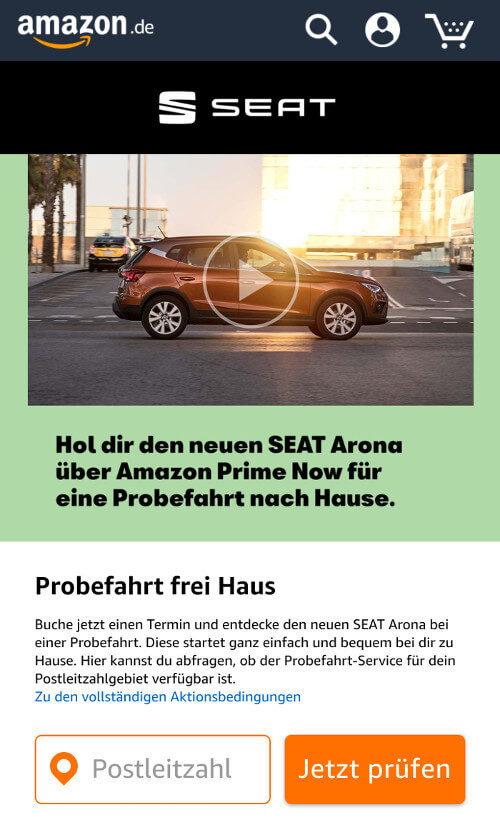 seat bei amazon kann man nun auch probefahrten buchen amazon watchblog. Black Bedroom Furniture Sets. Home Design Ideas