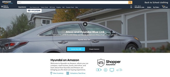 Digitaler Showroom von Hyundai bei Amazon
