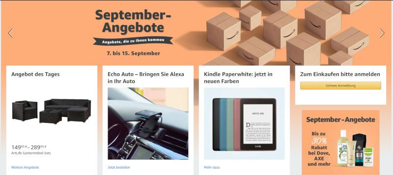 Amazon, Screenshot der Homepage: September Angebote