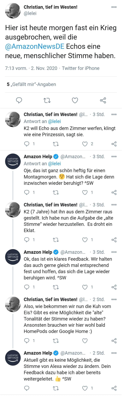 Twitter-Unterhaltung über neue Stimme von Alexa, Screenshot
