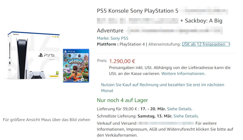 Screenshot: PS5-angebot bei Amazon