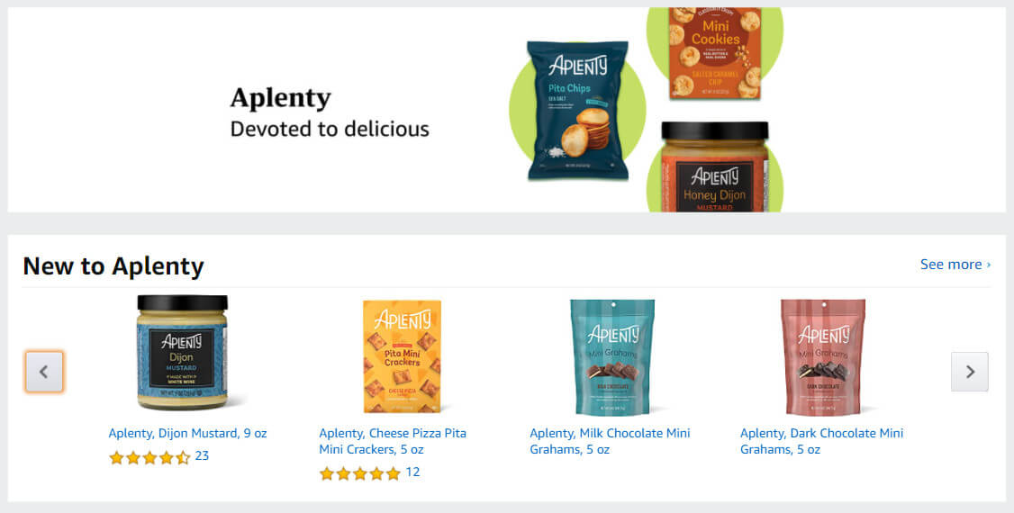 Screenshot der neuen Amazon Aplenty-Produkte