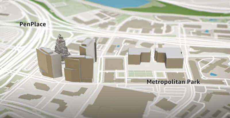 Plan des neuen Hauptquartiers von Amazon in Arlington