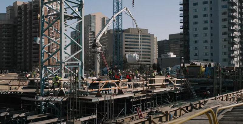 Baustelle des neuen Hauptquartiers von Amazon in Arlington
