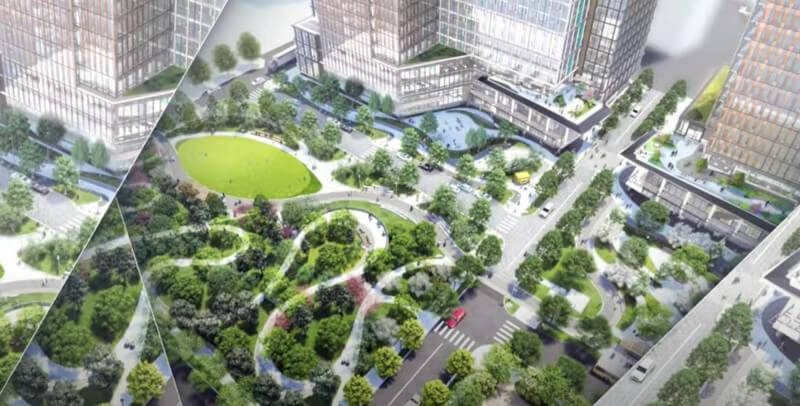 Plan des fertigen neuen Hauptquartiers von Amazon in Arlington