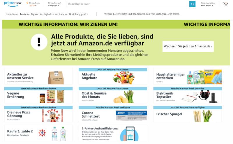 Amazon Prime Now zieht um