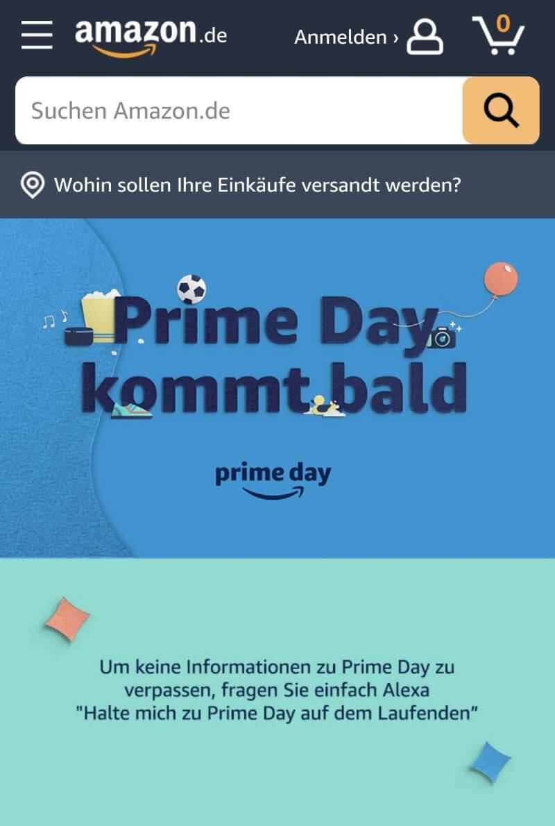 Amazon Prime Day Website mobil