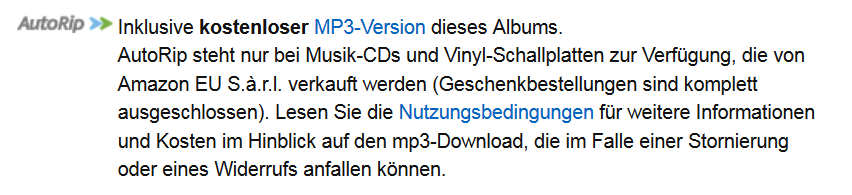 Amazon: Verweis AutoRip, Screenshot