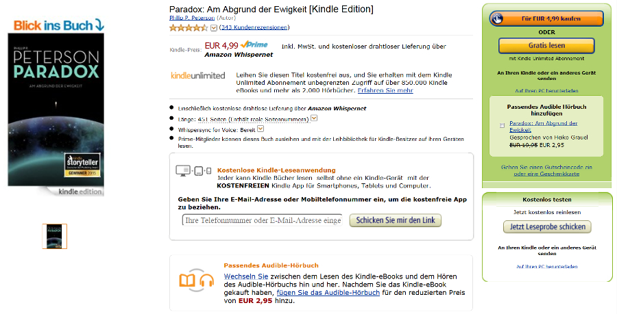 Screenshot Amazon Kindle E-Book Detailseite alt