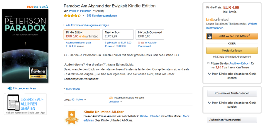Screenshot Amazon Kindle E-Book Detailseite neu