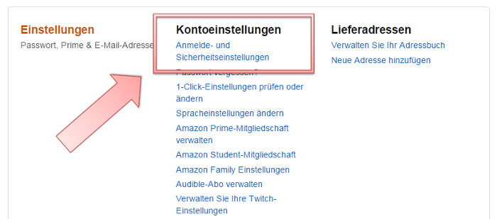 Mein Konto bei Amazon, Screenshot