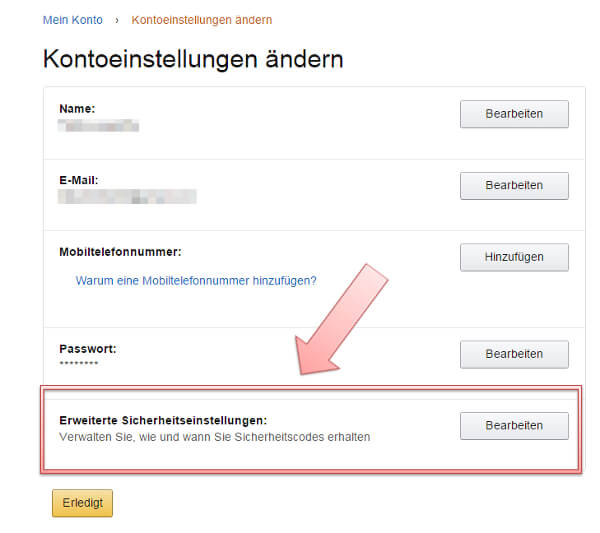 Sicherheitseinstellungen bei Amazon, Screenshot