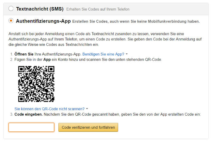 Zwei-Faktor-Authentifizierung bei Amazon: App, Screenshot