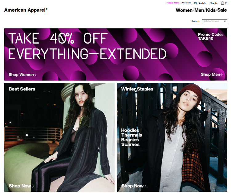 Screenshot der website American Apparel