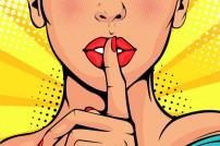 Popart-Stil: Frau, die sich einen Finger an den Mund hält