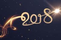 Zahl 2018 mit Licht geschrieben