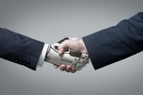 Handschlag: Zusammenarbeit von Roboter und Mensch