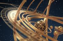 Horoskop: Armillarsphäre bzw. Weltmaschine vor Sternenhimmel
