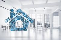 Abbildung zum Smart Home: Zuhause mit Zahnrädern