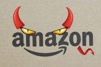 Amazon Logo mit teuflischen Augen und Hörnern