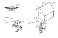 Eine Zeichnung: Drohne und kreischender und mit den Armen wedelnder Mann vor dem Haus