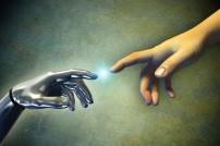 Mensch und Technik: Annäherung von Händen
