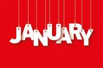 Januar-Schriftzug an Fäden