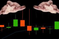 Hände und grafische Kurve