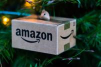 Kleines Amazon-Paket an einem Weihnachtsbaum