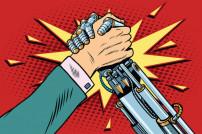 Kampf von Mensch gegen Roboter