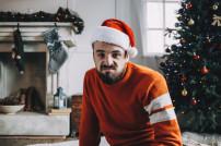 Trauriger Mann an Weihnachten