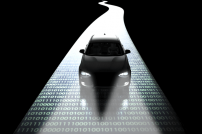 Autonomes Fahren: Auto fährt auf einem Streifen aus 0en und 1en