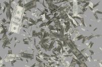 Viele fallende Dollar-Noten