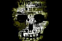 Digitaler Totenschädel auf schwarzem Grund
