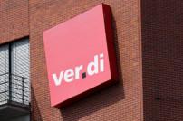 Gewerkschaft: Schriftzug von Verdi an einer Hauswand