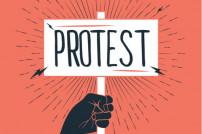 Streik: Faust mit Schild in der Hand