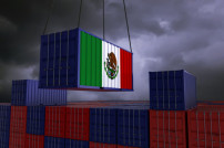 Container mit Mexiko-Flagge