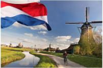 Niederländische Flagge mit Windmühle