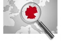 Landkarte Europa Deutschland mit Lupe