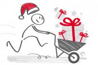 Comic Figur mit Weihnachtsmütze mit Schubkarre voll Weihnachtsgeschenke