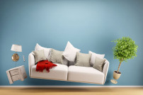 Renovierung: Möbel vor einer Wand
