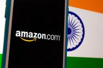 Amazon-Schrift vor Indien-Fahne